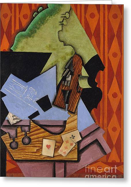 Violin And Playing Cards On A Table, 1913 Greeting Card by Juan Gris