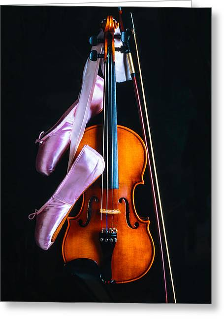 Violin And Pointe Shoes Greeting Card