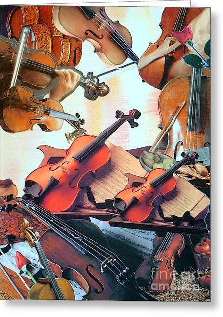 Violin Concierto Greeting Card by Judith Espinoza