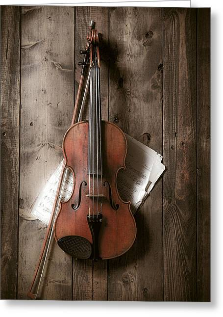 Still Life Glass Greeting Cards - Violin Greeting Card by Garry Gay