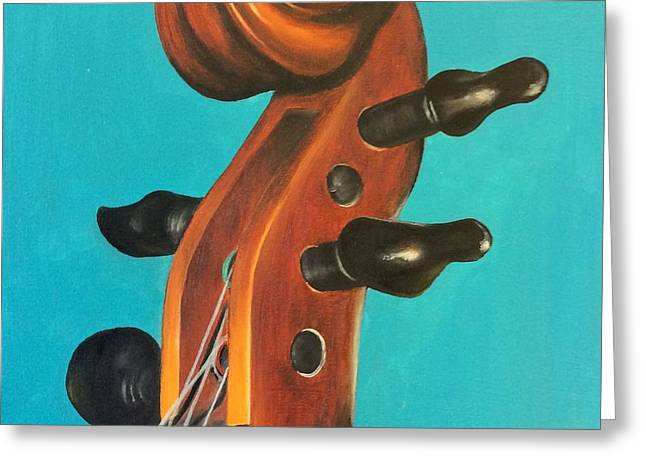 Violin Head Greeting Card by Emily Page