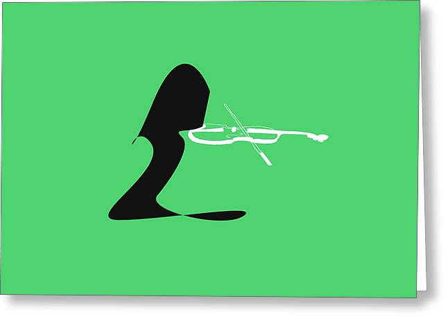 Violin In Green Greeting Card