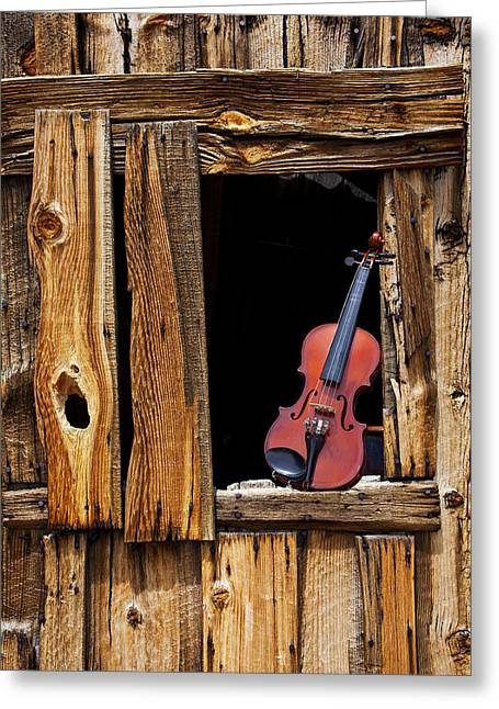 Violin In Window Greeting Card