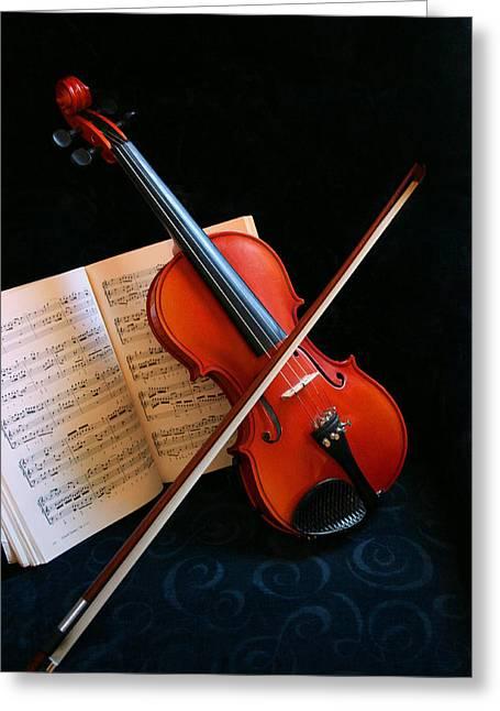 Violin Greeting Card by Kristin Elmquist