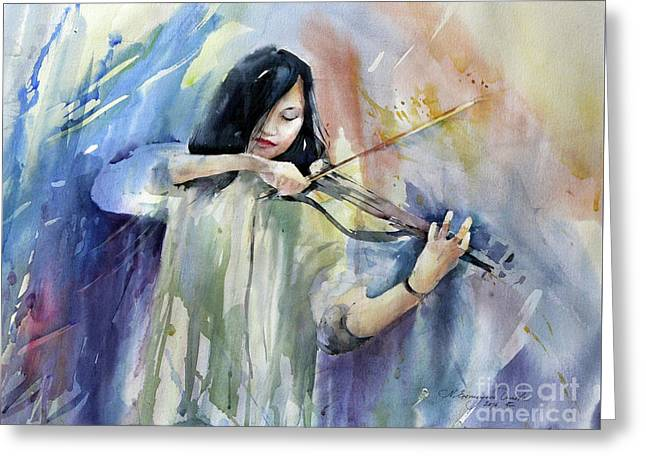 Violin Musician Greeting Card by Natalia Eremeyeva Duarte