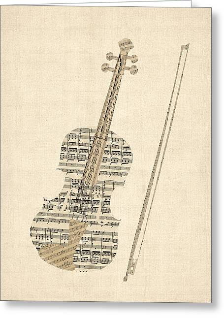 Violin Old Sheet Music Greeting Card