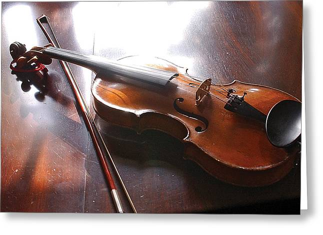 Violin On Table Greeting Card