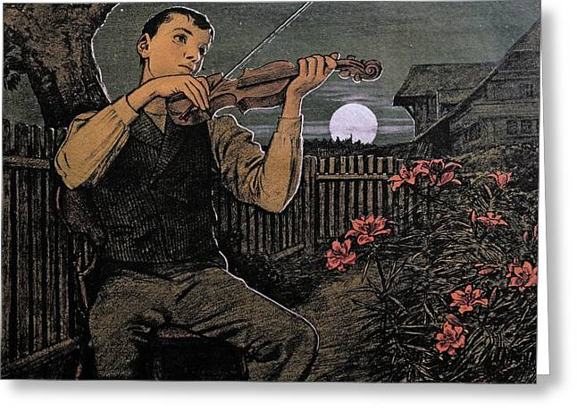 Violin Player To The Moon Greeting Card by Hans Thoma