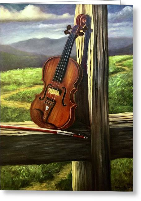 Greeting Card featuring the painting Violin by Randol Burns