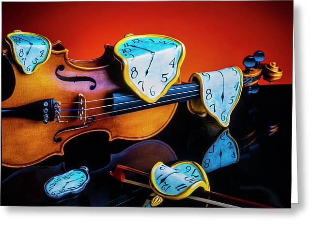 Violin With Melted Watches Greeting Card