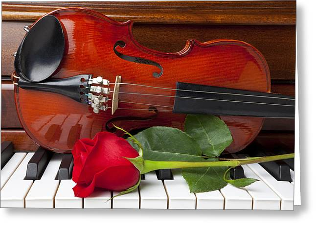 Violin Greeting Cards - Violin with rose on piano Greeting Card by Garry Gay