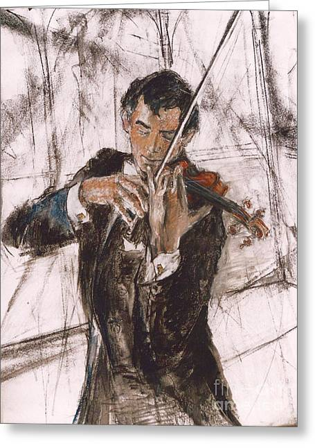 Greeting Card featuring the painting Violinist by Debora Cardaci