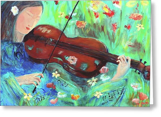 Violinist In Garden Greeting Card
