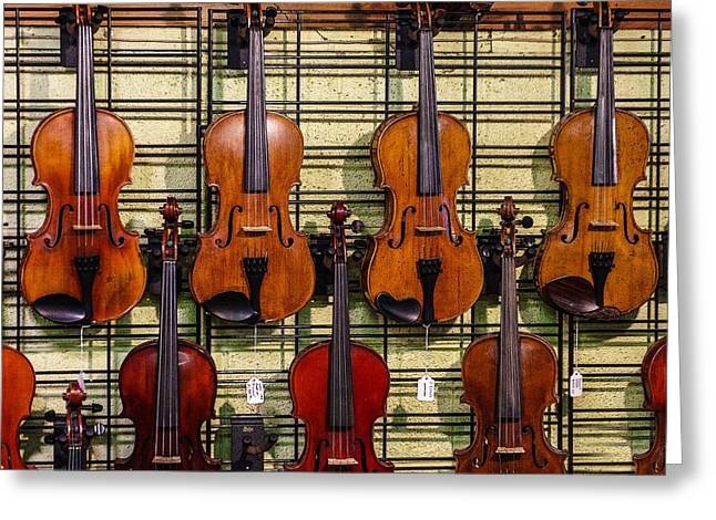 Violins In A Shop Greeting Card