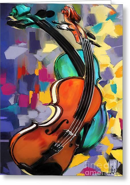 Violins Greeting Card by Melanie D