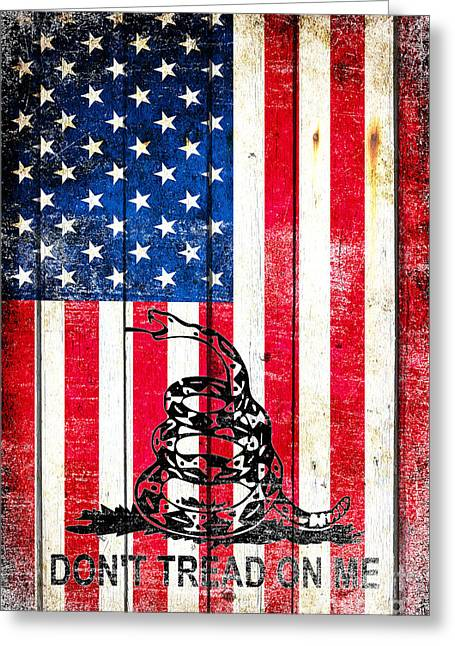 Viper On American Flag On Old Wood Planks Vertical Greeting Card