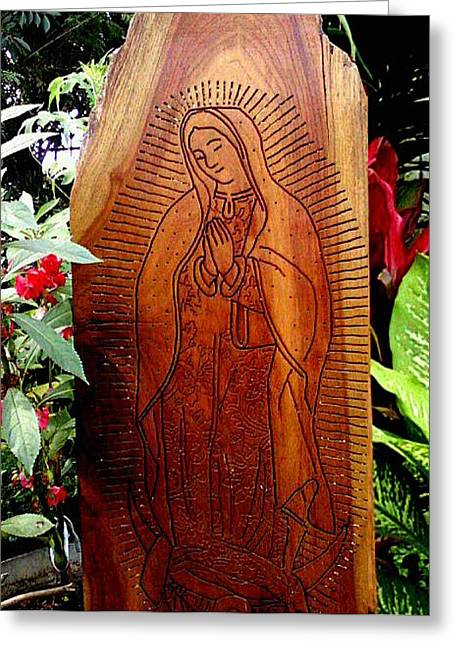Virgen De Guadalupe Greeting Card by Calixto Gonzalez