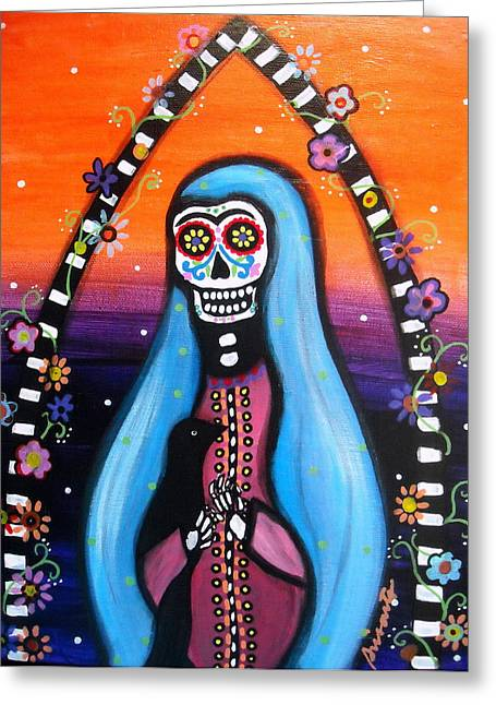 Greeting Card featuring the painting Virgen Guadalupe Muertos by Pristine Cartera Turkus