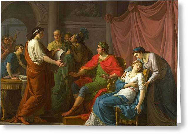 Virgil Reading The Aeneid To Augustus And Octavia Greeting Card by Jean-Joseph Taillasson