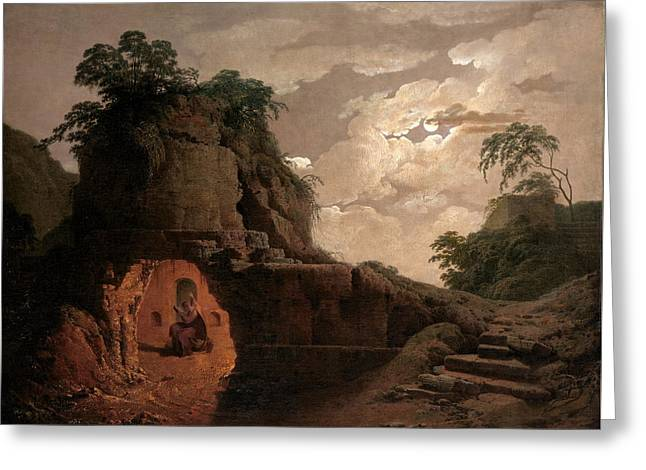 Greeting Card featuring the painting Virgil's Tomb By Moonlight With Silius Italicus Declaiming by Joseph Wright of Derby