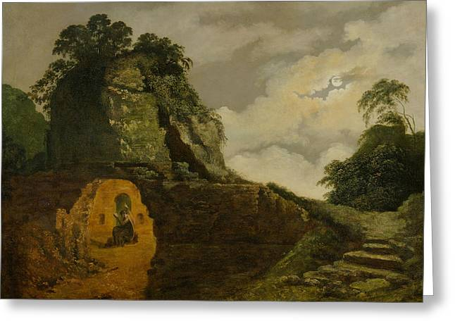 Virgil's Tomb By Moonlight, With Silius Italicus Greeting Card by Joseph Wright