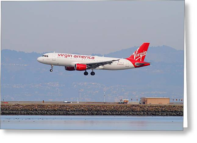 Landing Airplane Greeting Cards - Virgin America Airlines Jet Airplane At San Francisco International Airport SFO . 7D12180 Greeting Card by Wingsdomain Art and Photography