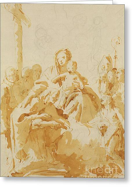 Virgin And Child Adored By Bishops, Monks And Women Greeting Card