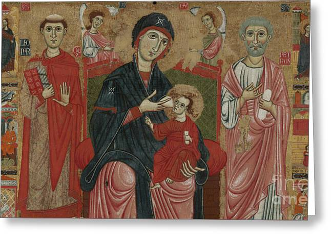Virgin And Child Enthroned With Saints Leonard And Peter And Scenes From The Life Of Saint Peter Greeting Card