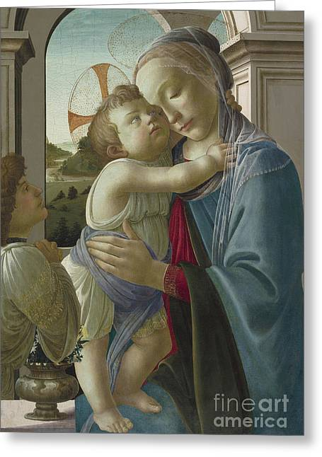 Virgin And Child With An Angel Greeting Card by Botticelli