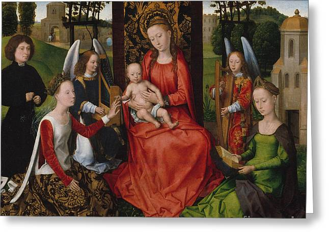 Virgin And Child With Saints Catherine Of Alexandria And Barbara, 1480 Greeting Card by Hans Memling