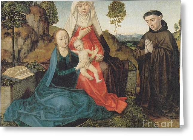 Virgin And Child With St. Anne And A Franciscan Donor Greeting Card