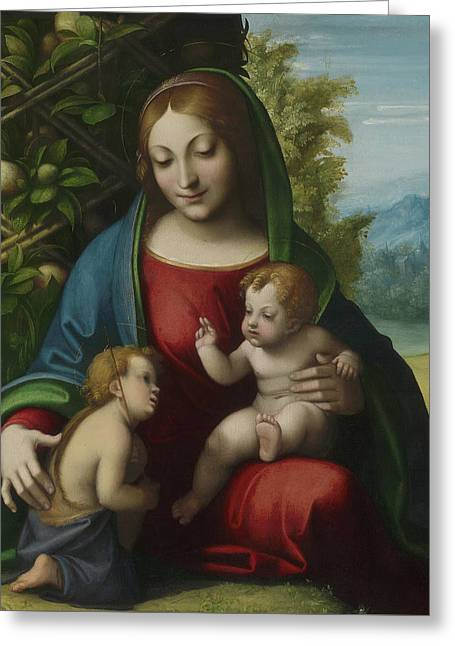 Virgin And Child With The Young Saint John The Baptist Greeting Card by Correggio