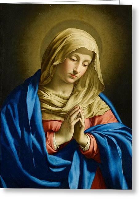 Virgin At Prayer Greeting Card