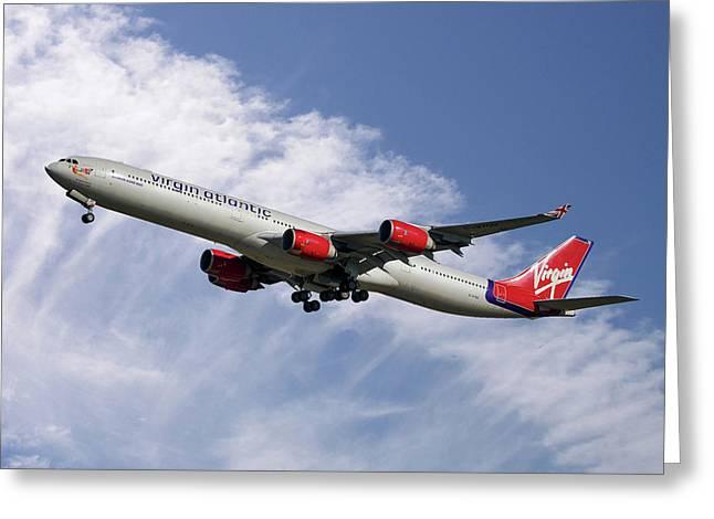Virgin Atlantic Airbus A340-642 Greeting Card