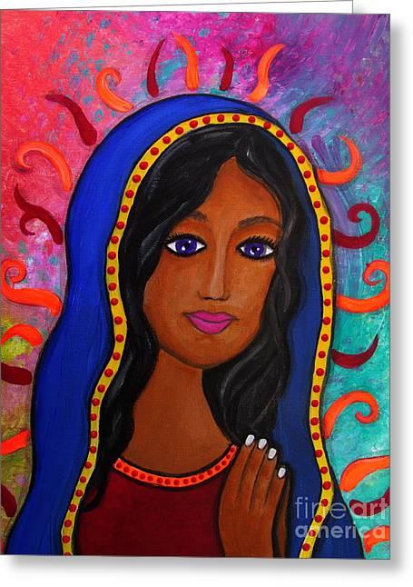 Virgin De Guadalupe Greeting Card by Pristine Cartera Turkus