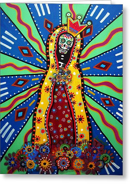Virgin Guadalupe Day Of The Dead Painting Greeting Card by Pristine Cartera Turkus