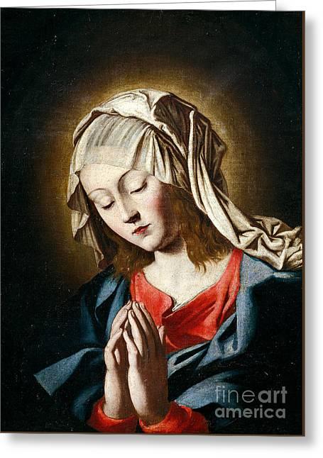 Virgin In Prayer Greeting Card by Giovanni Battista Salvi da Sassoferrato