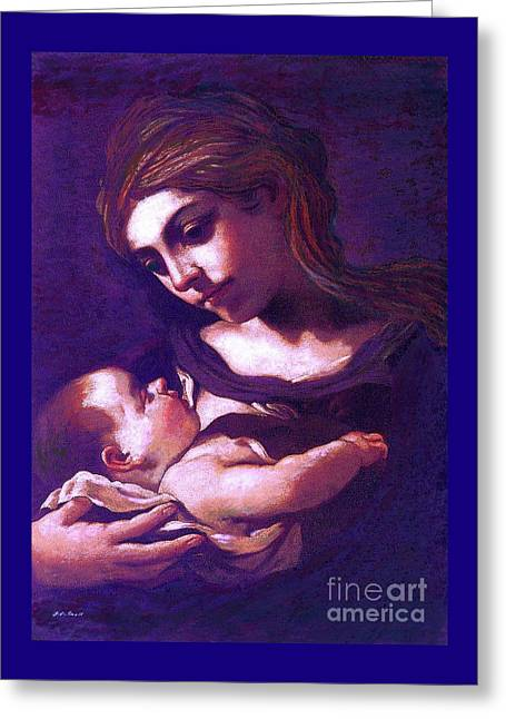 Greeting Card featuring the painting Virgin Mary And Baby Jesus, The Greatest Gift by Jane Small