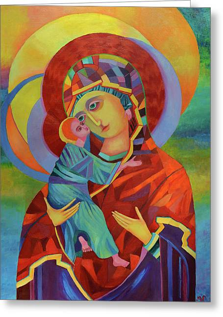 Virgin Mary And Child Jesus Greeting Card by Magdalena Walulik