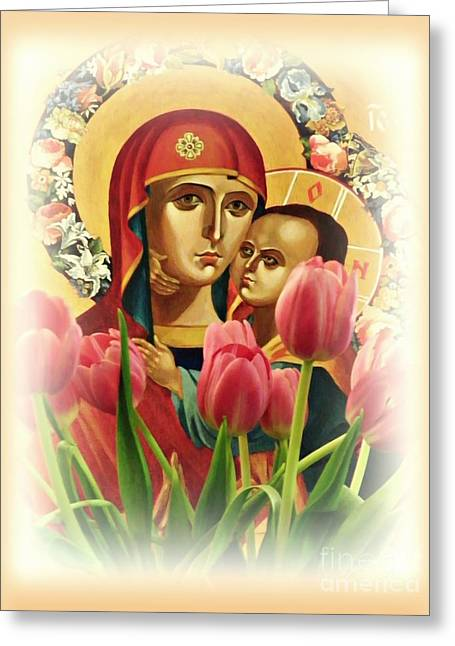 Virgin Mary And Tulips      Greeting Card