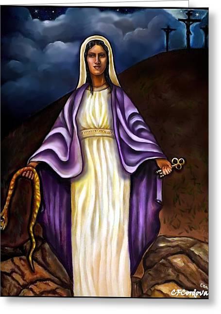 Virgin Mary- The Protector Greeting Card by Carmen Cordova