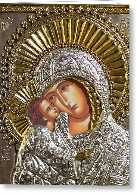 Virgin Mary With Child Jesus Greek Icon Greeting Card