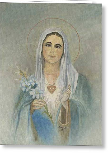 Virgin Mother Mary Greeting Card by Cecilia Brendel