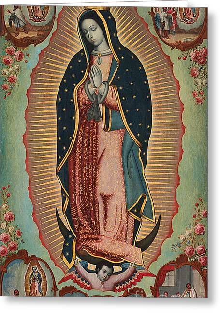 Virgin Of Guadalupe Greeting Card by Nicolas Enriquez