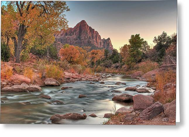 The Plateaus Greeting Cards - Virgin River and The Watchman Greeting Card by Greg Nyquist