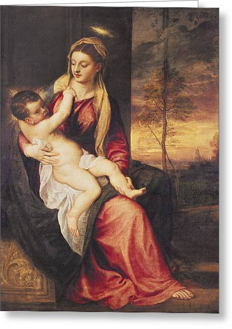 Jesus With Children Greeting Cards - Virgin with Child at Sunset Greeting Card by Titian