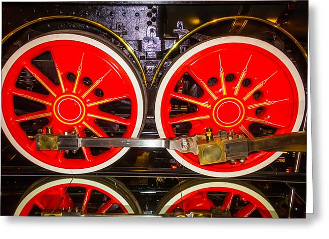 Virginia And Truckee Red Train Wheels Greeting Card by Garry Gay
