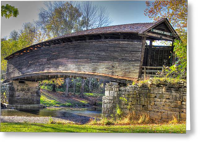 Virginia Country Roads - Humpback Covered Bridge Over Dunlap Creek No. 6a - Alleghany County Greeting Card by Michael Mazaika