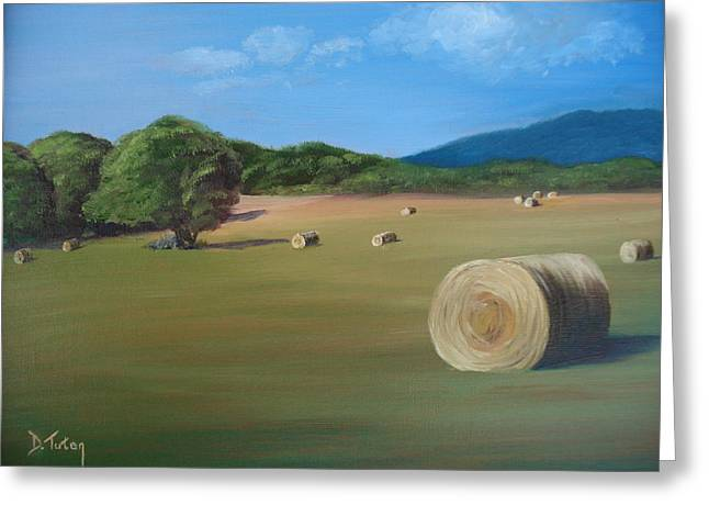 Greeting Card featuring the painting Virginia Hay Bales by Donna Tuten