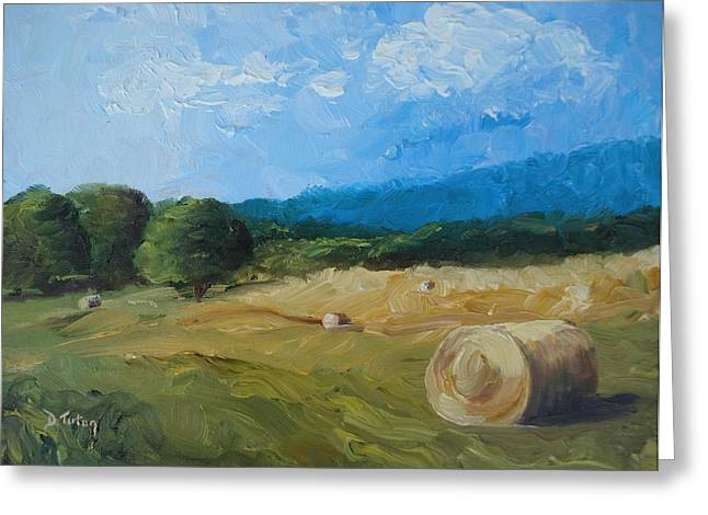 Virginia Hay Bales II Greeting Card by Donna Tuten